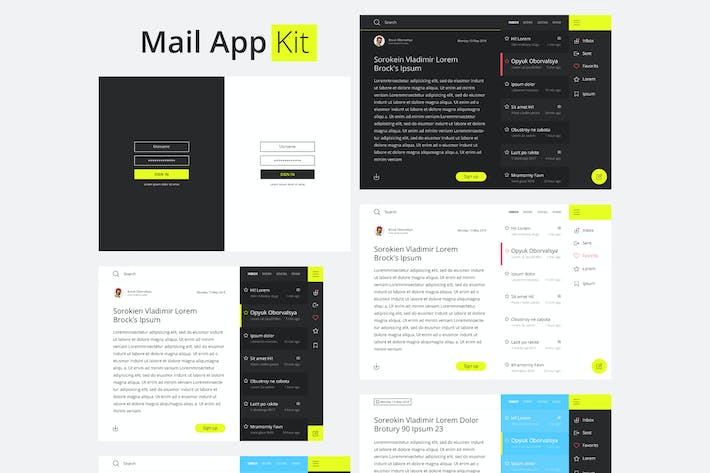 Thumbnail for Material Design Mail App Kit for Tablet and Mobile