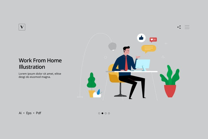 Thumbnail for Business Series - Work From Home Illustration