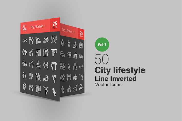 Thumbnail for 50 City Lifestyle Line Inverted Icons