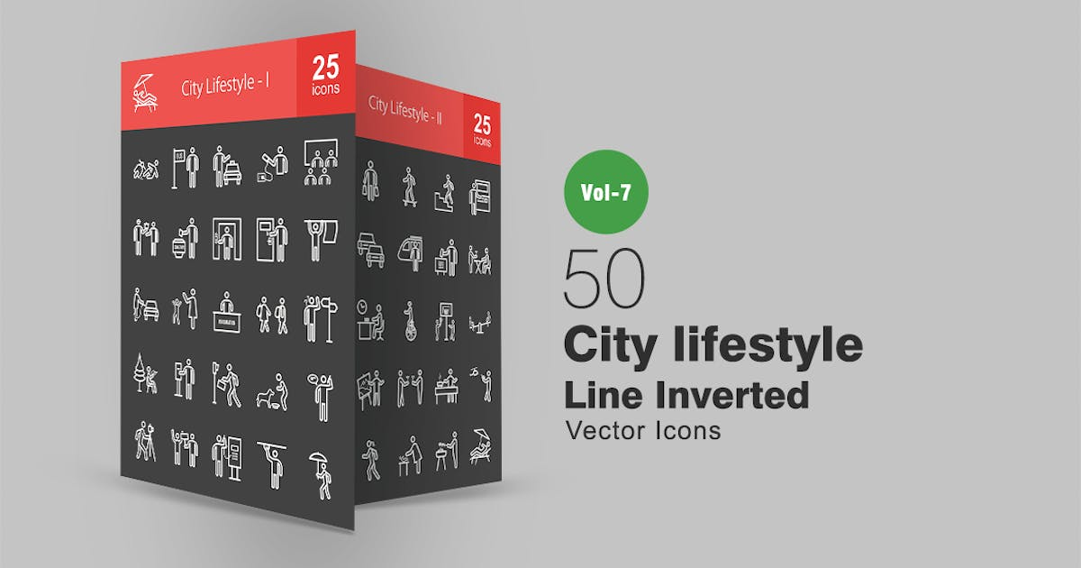 Download 50 City Lifestyle Line Inverted Icons by IconBunny