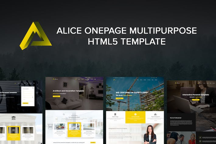 Thumbnail for Alice Onepage Multipurpose HTML Template