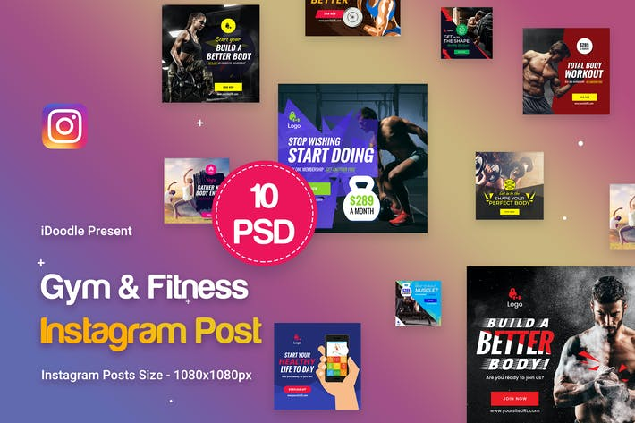 Thumbnail for Gym & Fitness Instagram Posts - 10 PSD