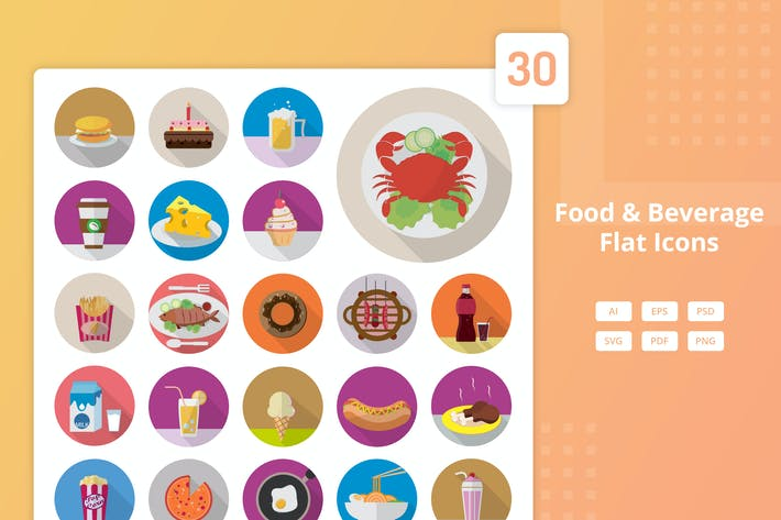 Thumbnail for Food and Beverage - Flat Icons
