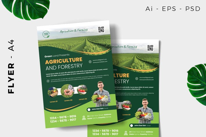 Thumbnail for Organic Green Farmer Flyer Design
