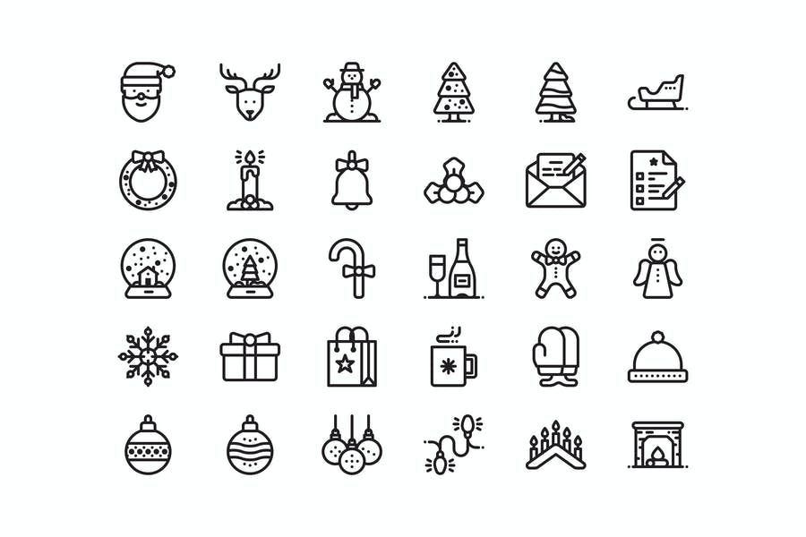 30 Christmas and New year icons