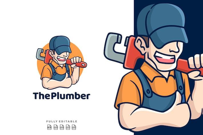 Thumbnail for Cartoon Man Plumber Mascot Logo
