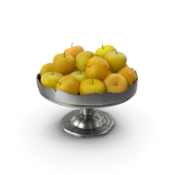 Thumbnail for Fancy Silver Bowl with Yellow Apples