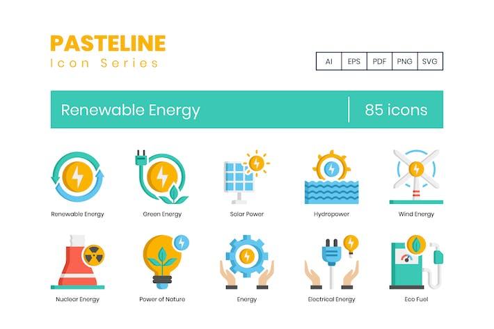 85 Icons für erneuerbare Energien - Pasteline Series