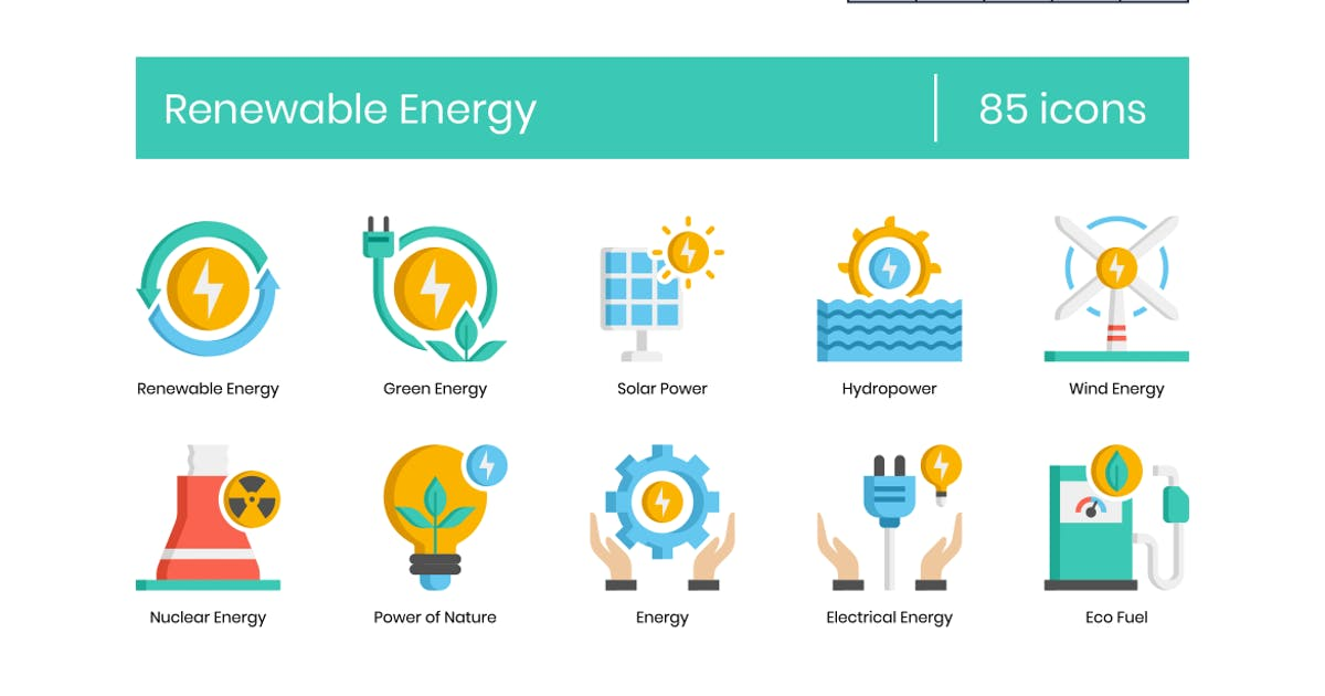 Download 85 Renewable Energy Icons - Pasteline Series by Krafted