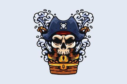 Pirate Captain Skull And His Treasure