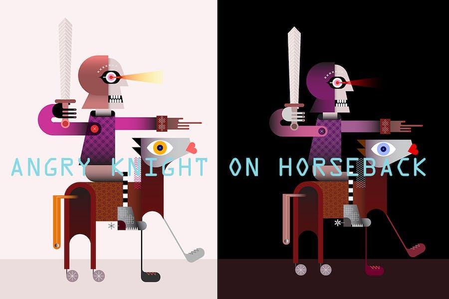 Гневный рыцарь на лошади вектор