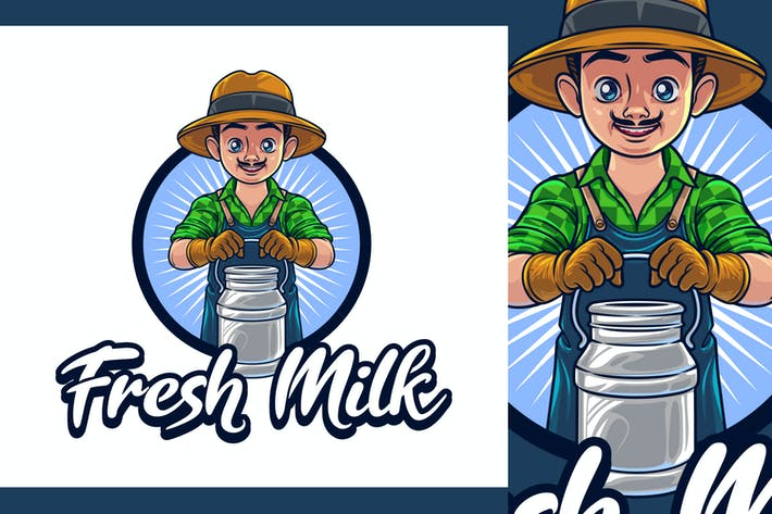 Thumbnail for Fresh Milk -Dairy Farm Character Mascot Logo