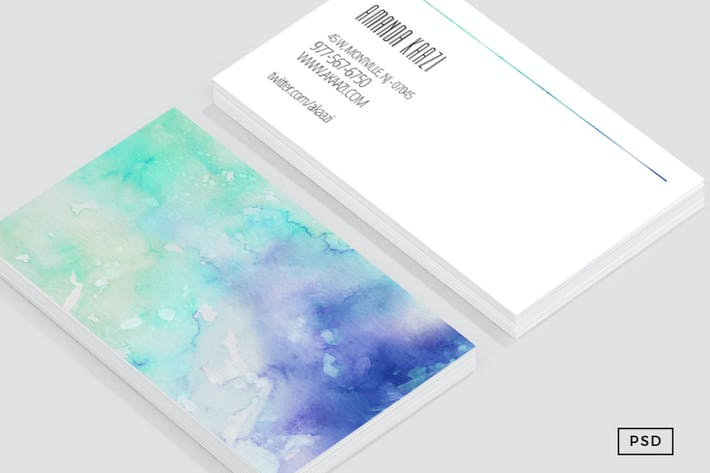 Thumbnail for Watercolor Styled Business Card template