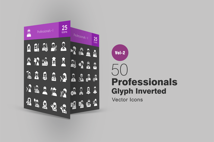 Thumbnail for 50 Professionals Glyph Inverted Icons