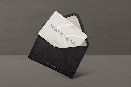 Mockup carte d'invitation en noir et or