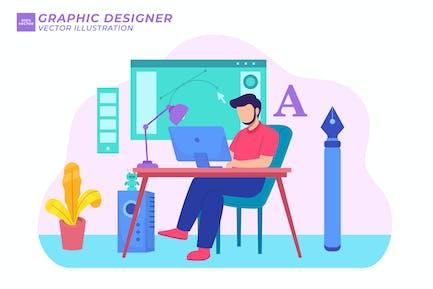 Flache Illustration des Grafikdesigners