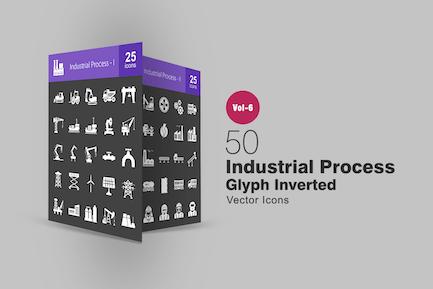 50 industrielle Prozessglyphe Inverted Icons