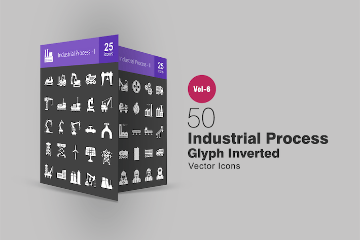 Thumbnail for 50 Industrial Process Glyph Inverted Icons