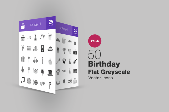 Thumbnail for 50 Birthday Flat Greyscale Icons
