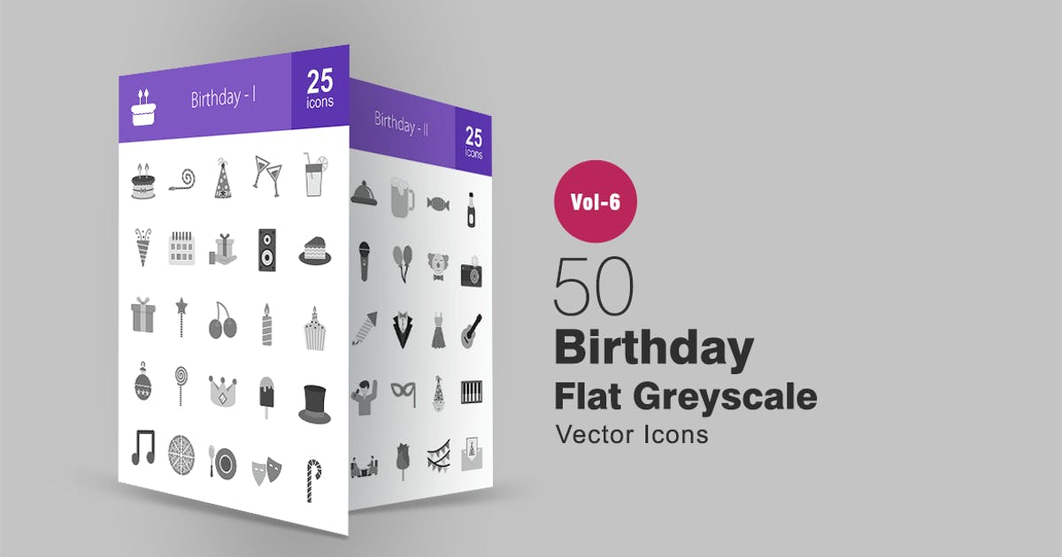Download 50 Birthday Flat Greyscale Icons by IconBunny