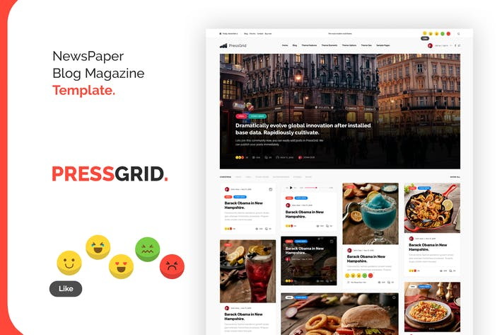 Thumbnail for PressGrid Nice Newspaper Reaction Design Template