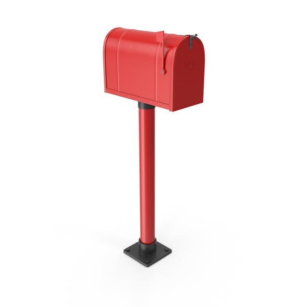 Mailbox On Post Red