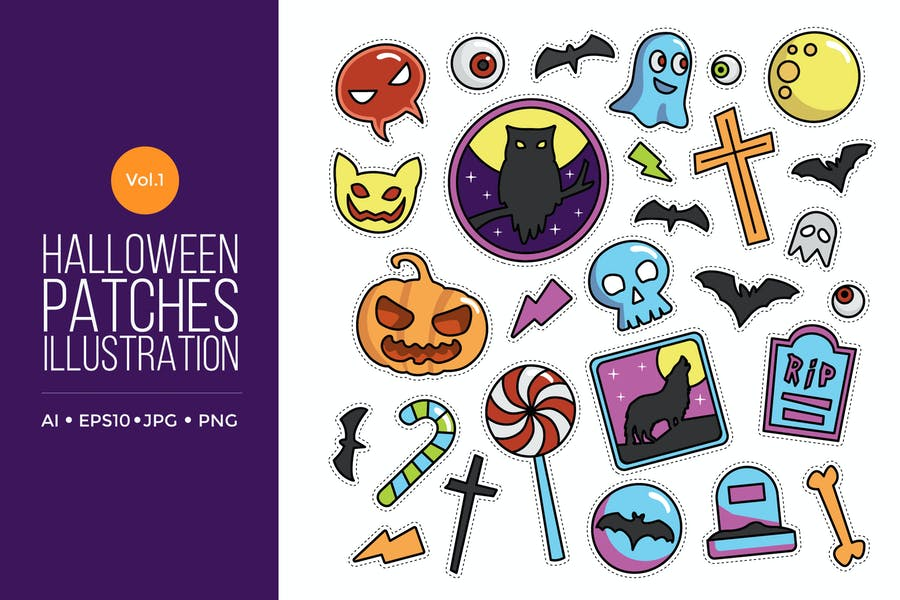 Cute Happy Halloween Patches Vol.1