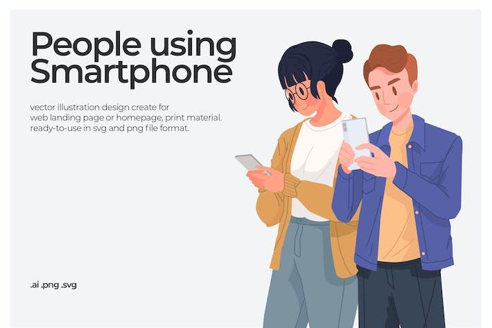 People Using smartphone - Illustration