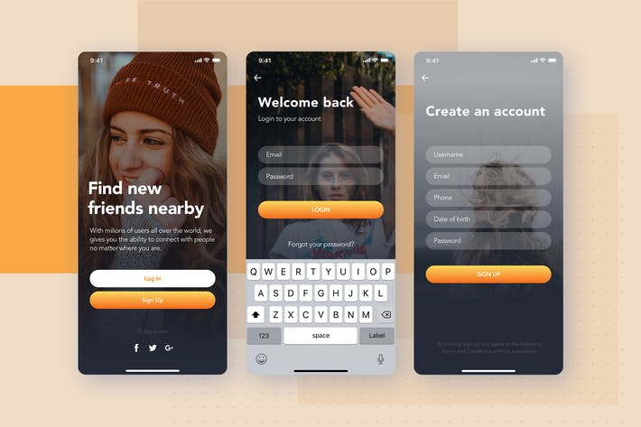 Thumbnail for Login , Sign up - Social mobile UI concept