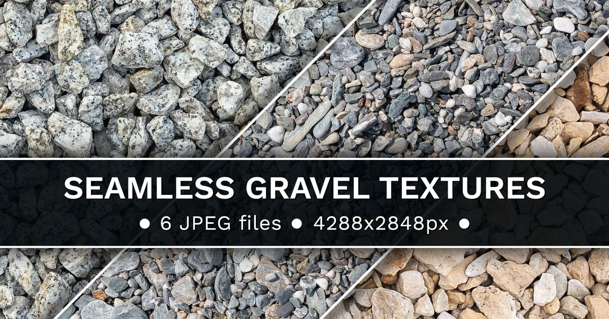 Download Set of 6 seamless gravel textures by mkos83