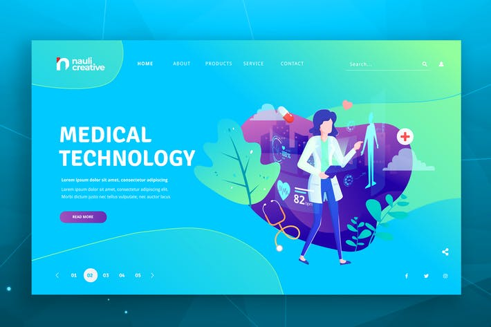 Thumbnail for Medical Technology Web PSD and AI Vector Template