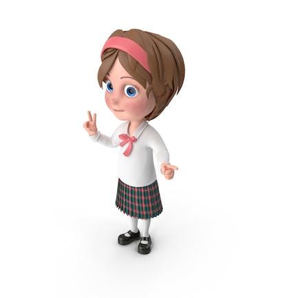 Cartoon Mädchen zeigen