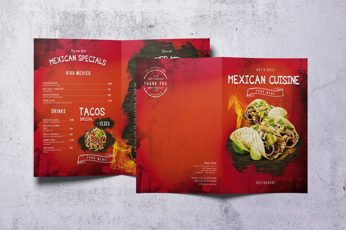 Thumbnail for Mexican Bifold A4 & US Letter Food Menu V2