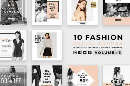 Модные социальные медиа баннеры - Kit 06