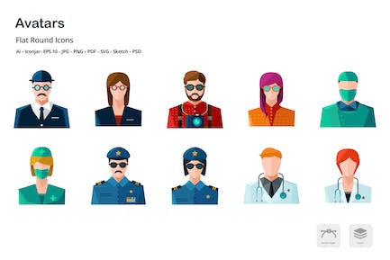 Avatars and Professions Colored Flat Icons