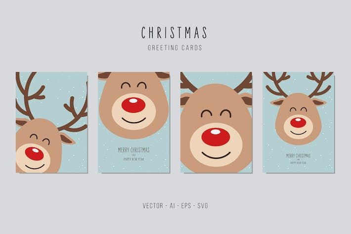 Thumbnail for Reindeer Cute Vector Card Set