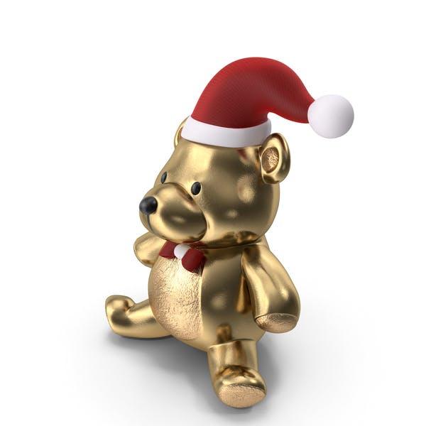 Рождественский плюшевый медведь Золото