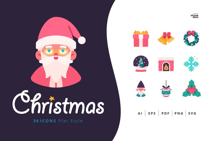 Thumbnail for 36 Christmas Icons Flat Style