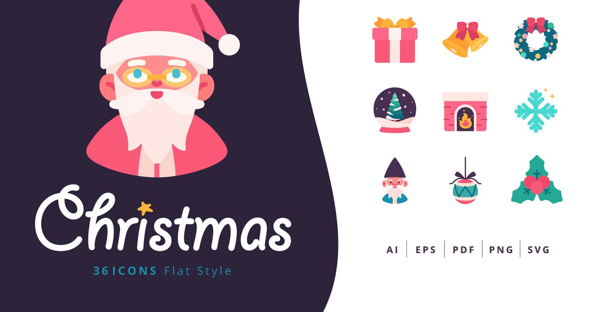 Download 36 Christmas Icons Flat Style by Victoruler