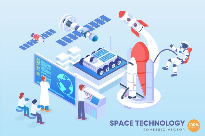 Thumbnail for Isometric Space Technology Vector Concept