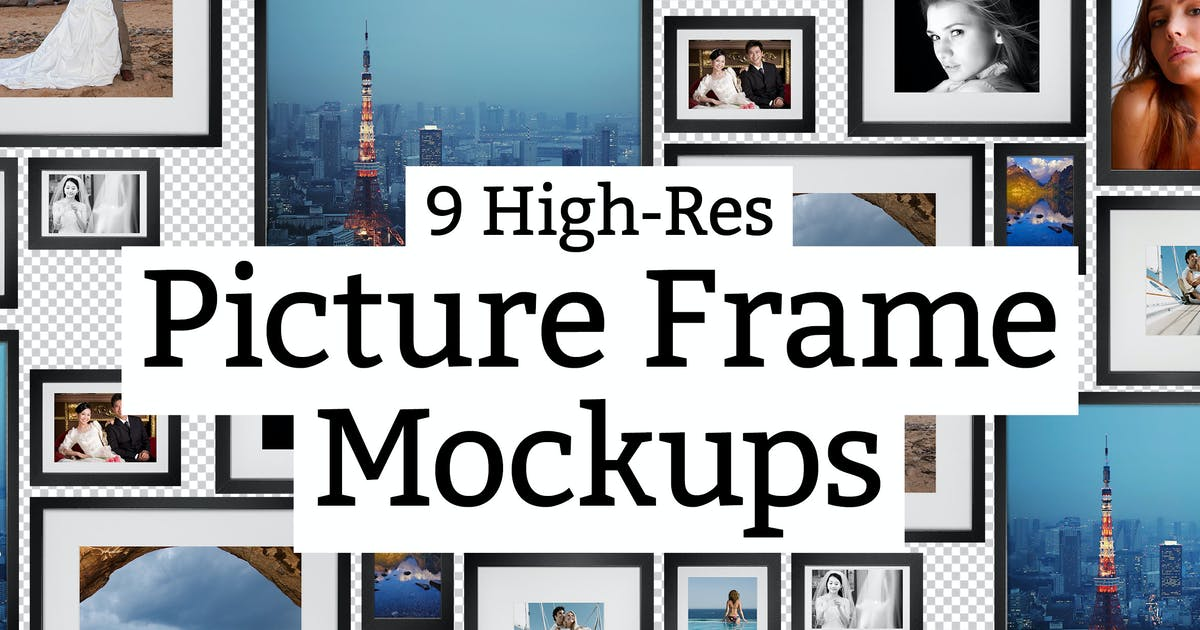 9 Picture Frame Mockups by sparklestock