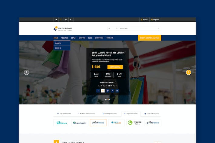 Thumbnail for Coupons & Deals Website PSD Template