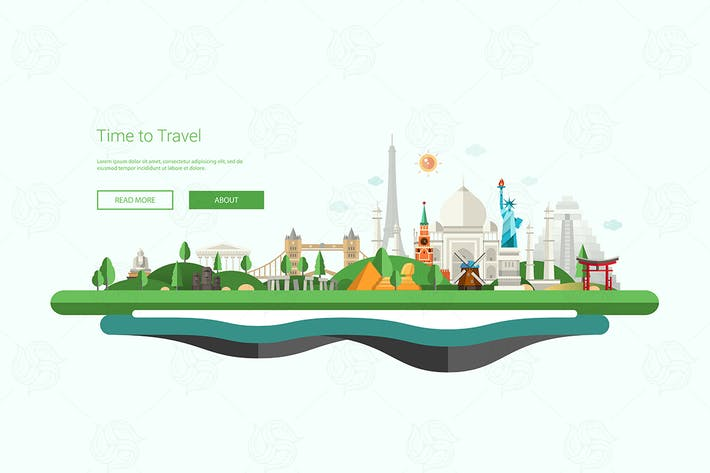 Thumbnail for Flat design banner, header illustration with world