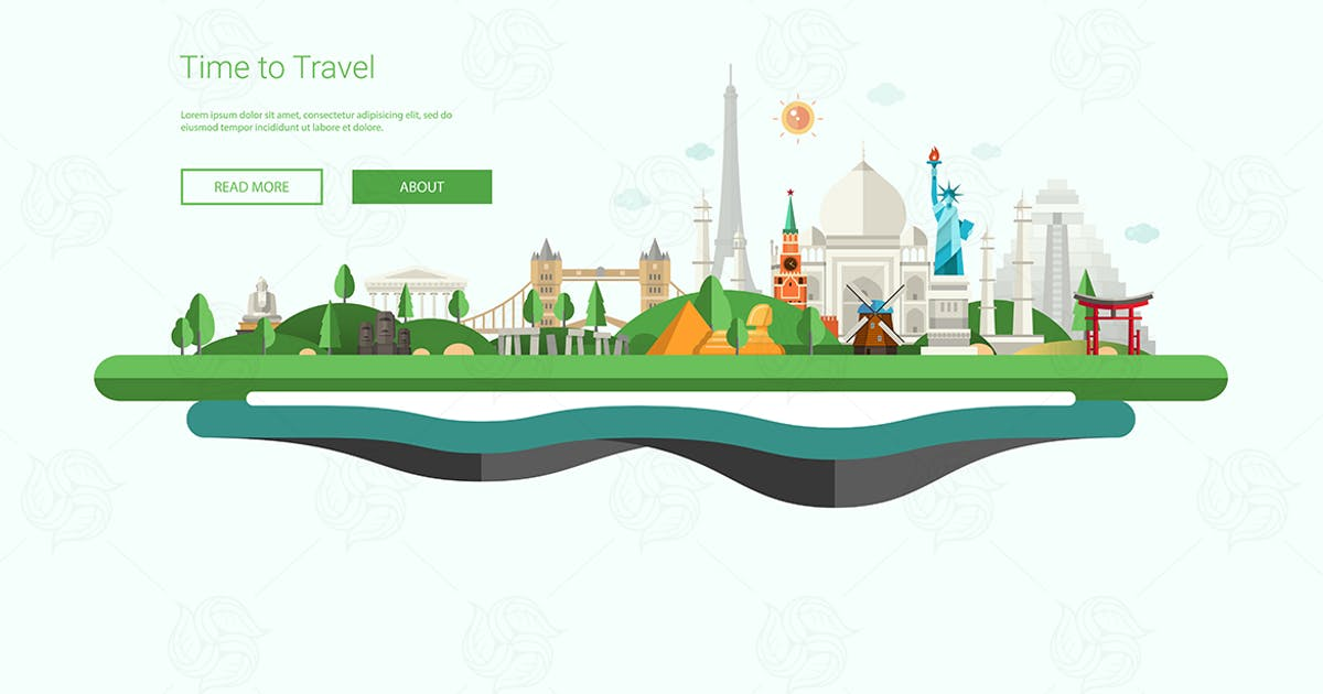 Download Flat design banner, header illustration with world by BoykoPictures