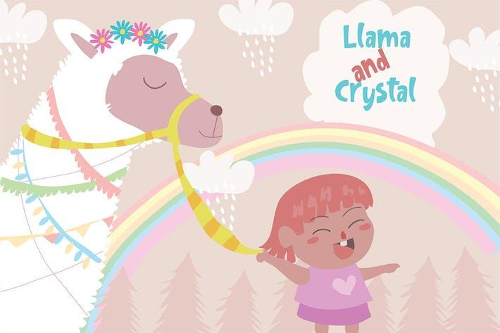 Thumbnail for Little Girl Leading - Vector Illustration
