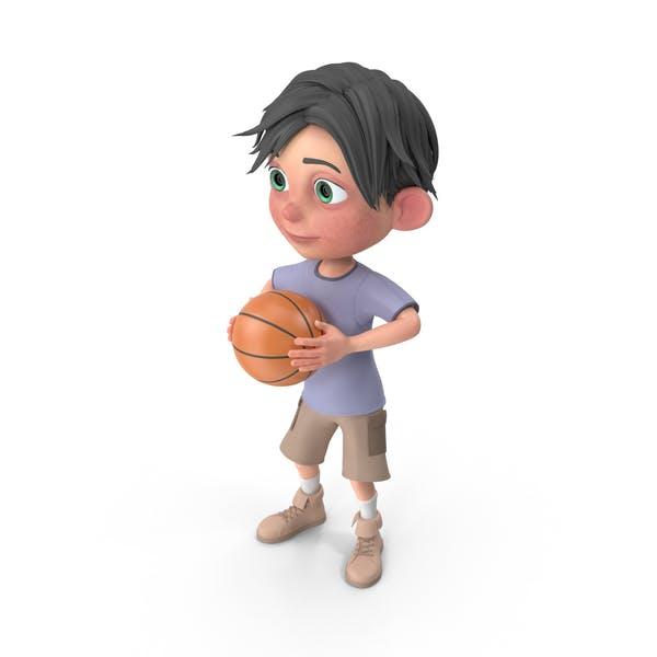 Cartoon Boy Jack Playing Basketball