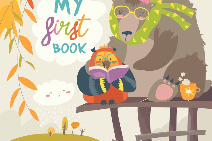 Thumbnail for Cute bear ,owl and swans reading books in autumn