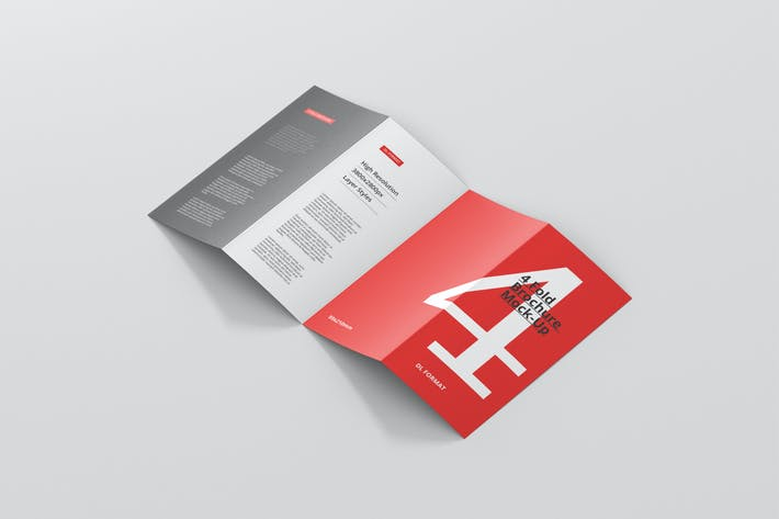 Cover Image For 4-Fold Brochure Mockup - DL 99x210mm