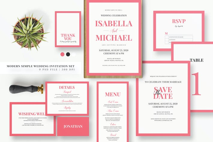 Thumbnail for Minimal Pink Invitation Set