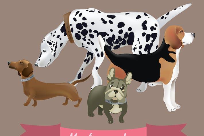 Thumbnail for Vektor -Set von lustigen Cartoon-Hunden. Vektor